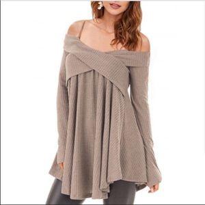 Khaki Cold Shoulder Crisscross Tunic